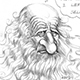 Caricature of Leonardo Da Vinci wonders about the futility of his self-portrait.