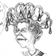 Caricature of Queen Elizabeth II of England.