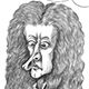 Caricature of Scientist Isaac Newton, Apple, and The laws of gravitation.