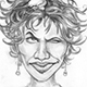 Caricature of Halle Berry, the Nest, and the Birds.