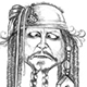 Caricature of Johnny Depp as Captain Jack Sparrow with the Enterprising Mice.
