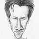 Caricature of Keanu Reeves - Hollywood actor who acted in The Martix movies.