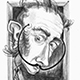 Caricature of Surrealist artist Salvador Dali.