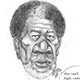 Caricature of Morgan Freeman as Detective Alex Cross.