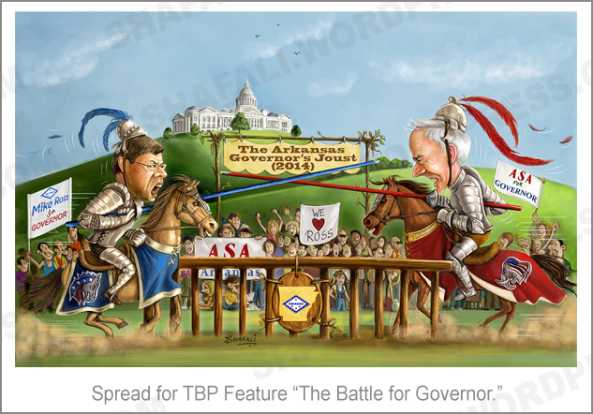Half and Half - Daily Prompt - Mike Ross and Asa Hutchinson Jousting for Arkansas Governor.