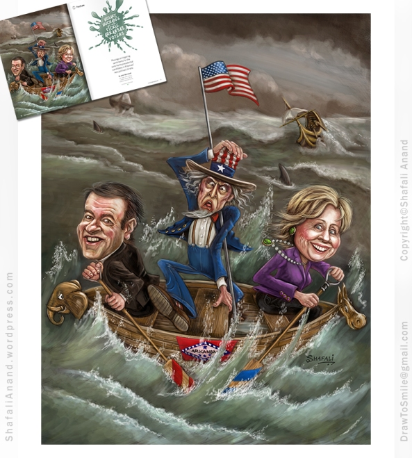Caricature Illustration Mike Huckabee and Hillary Clinton (Presidential Candidates for 2016 Elections) Row a boat and take uncle sam for a boat-ride. Illustration for Talk Business and Politics, Arkansas.