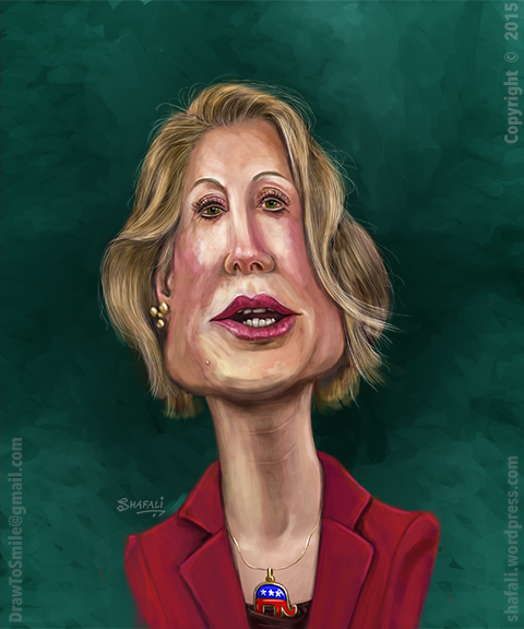 Caricature Cartoon Drawing Sketch - Carly Fiorina - Women Republican Candidate for 2016 Presidential Elections.