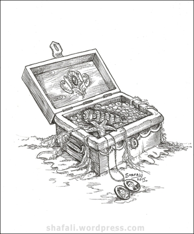 Creativity Carnival - The treasure chest. A pen and ink drawing.
