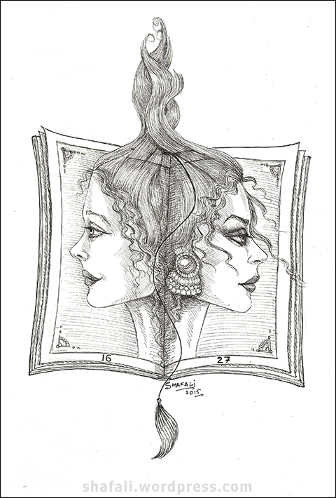 Women faces in profile on the pages of a book - pen and ink drawing for creativity carnival by shafali.