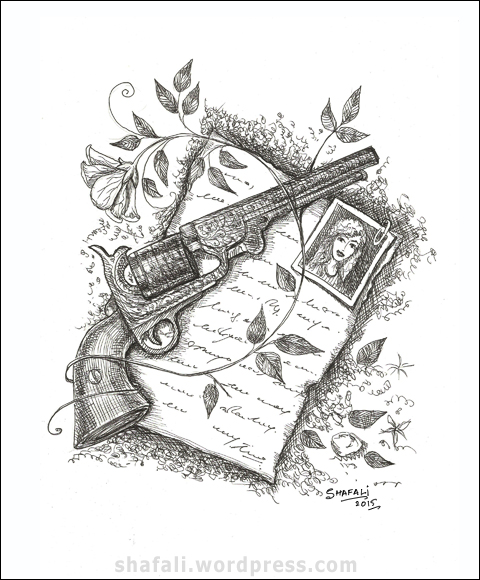 Pen and Ink Art - Gun Drawing black and White for the Creativity Carnival.