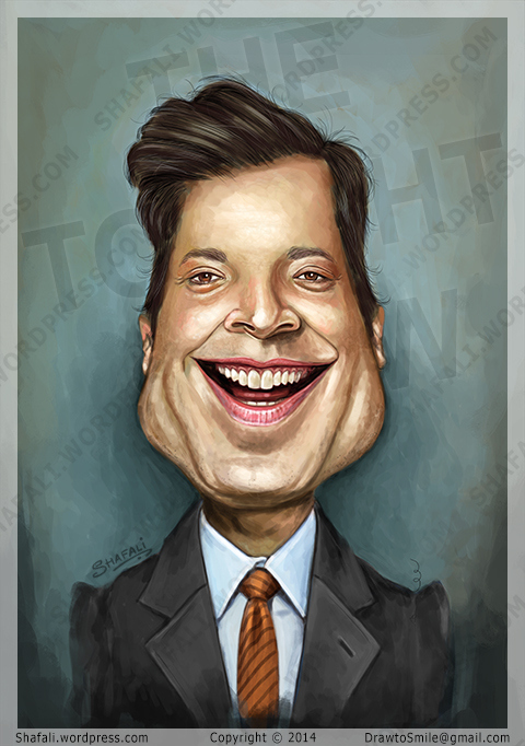 Caricature Portrait of Jimmy Fallon - the Tonight show Host who is the New Donald Trump