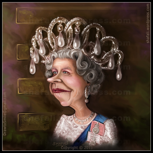 Caricature Portrait Color Painting of Queen Elizabeth II becomes the longest reigning monarch of Britain. Overtakes Queen Victoria.