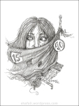 Pen and Ink portrait of a girl - 9/11 and Terrorism. Cue-art for Creativity Carnival.