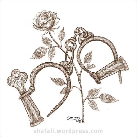 Handcuffs - A pen and ink drawing for the Creativity Carnival Edition 6.