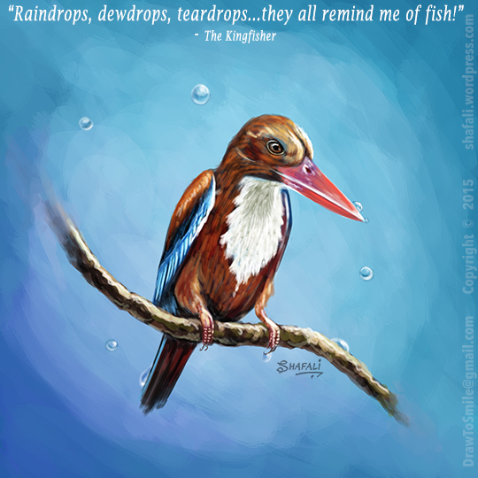 Bird kingfisher painting - wildlife, pets, and bird paintings by shafali