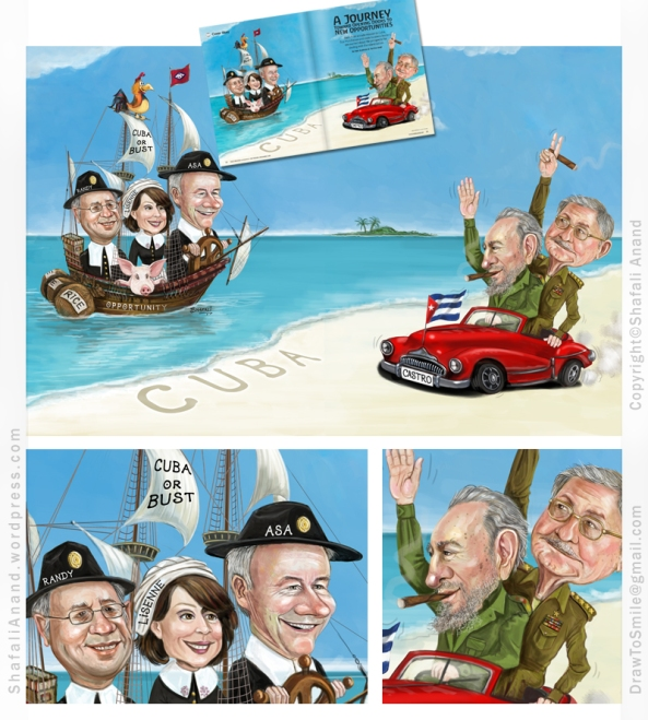 Pilgrims on Mayflower - Arkansas Governor Asa Hutchinson travels to Cuba to meet Castro Brother for trade. Illustration for the magazine Talk Business and Politics