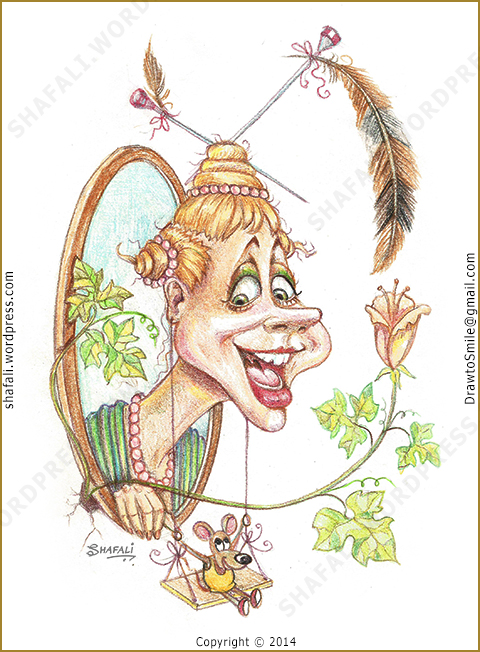 Caricature of a funny girl smiling with a mouse that swings from her ears. Smiles Caricatures by Shafali.
