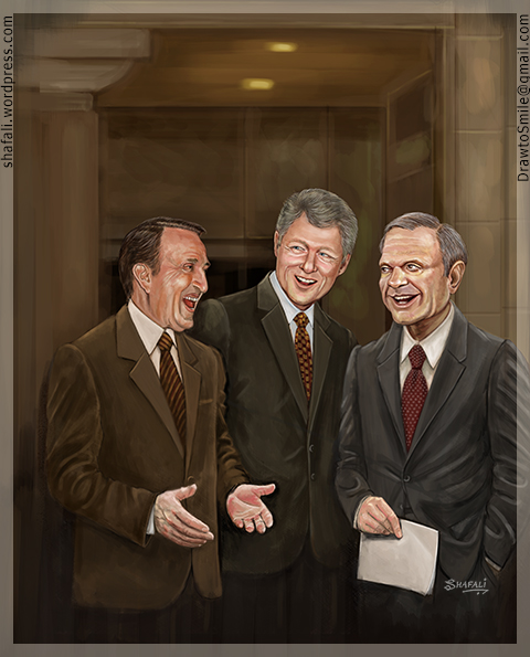 Portraits of Bill Clinton, Dale Bumpers, and David Pryor for the cover of Talk Business and Politics (TBP)