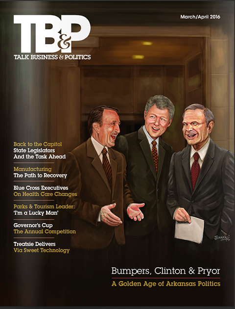 Portraits of Clinton, Bumpers, and Pryor for the TBP Magazine