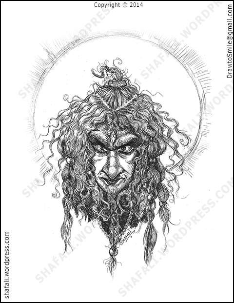 Caricature Portrait of an Angry sadhu -