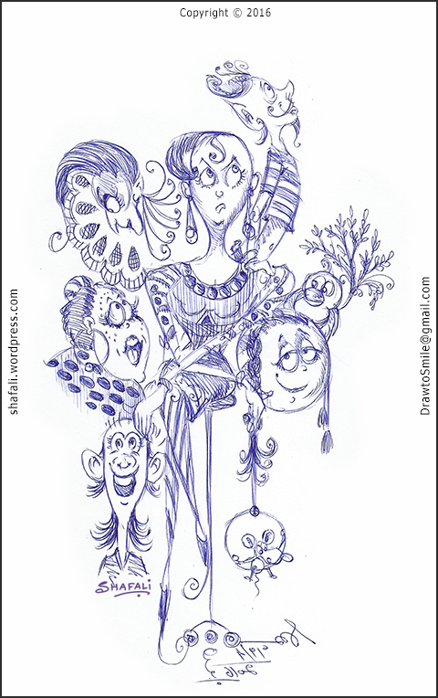 Happy Unhappy Sad Curious Anxious Expressions Doodle - A Pen and Ink Drawing by Shafali