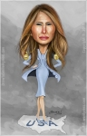Caricature, Cartoon of First Lady Melania Trump on the map of the USA.