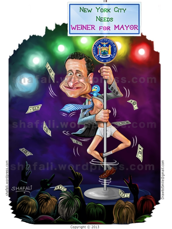 Anthony Weiner New York Mayor Sentenced. Caricature Cartoon pole dancing.