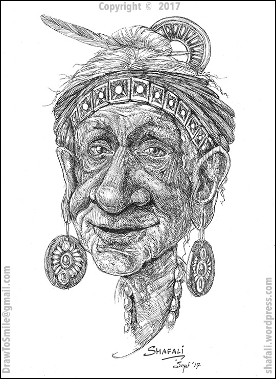 Portrait Caricature of An old person - Seer, Mage, Old man, Old Woman, Healer, Sooth-sayer, Oracle, Fortune-teller.