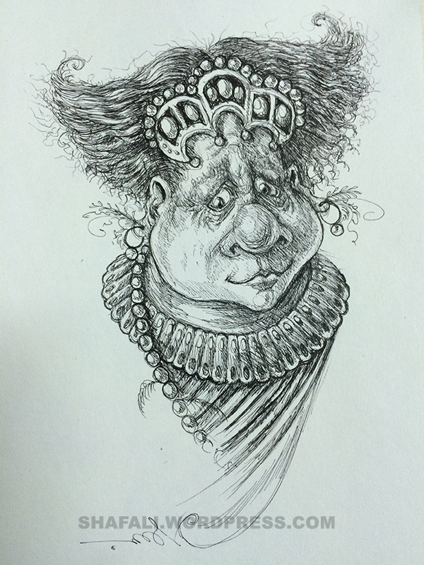 Caricature of a middle-aged woman bejeweled, rich, but unhappy.