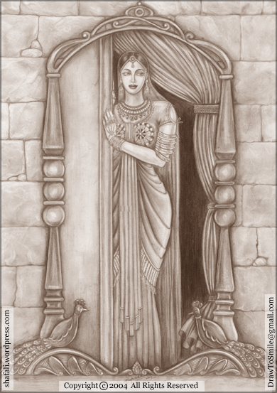 Queen Padmini Padmavati portrait of her reflection in mirror - Alauddin Khilji's attack on Chittor.