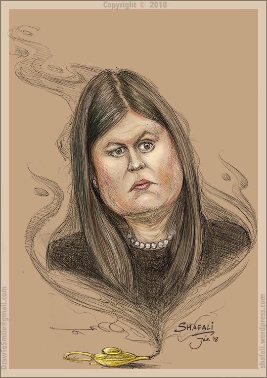 Caricature Portrait - Sarah Huckabee Sanders - Daughter of Mike Huckabee - Press Secretary White House for President Donald Trump