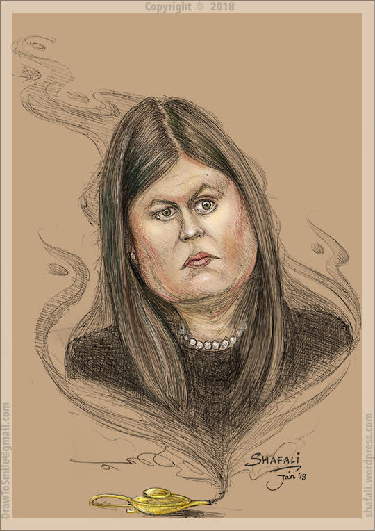 Caricature Portrait - Sarah Huckabee Sanders - Daughter of Mike Huckabee - Press Secretary White House for President Donald Trump