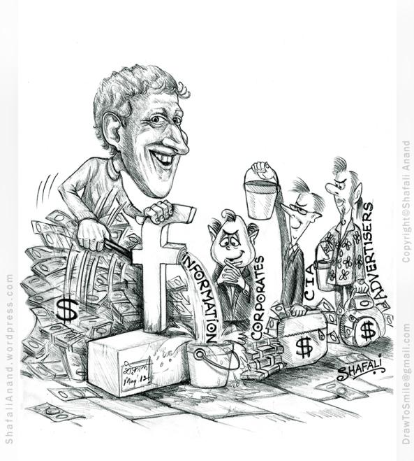 Cartoon Caricature of Mark Zuckerberg on Data sharing with third parties - Cambridge Analytica