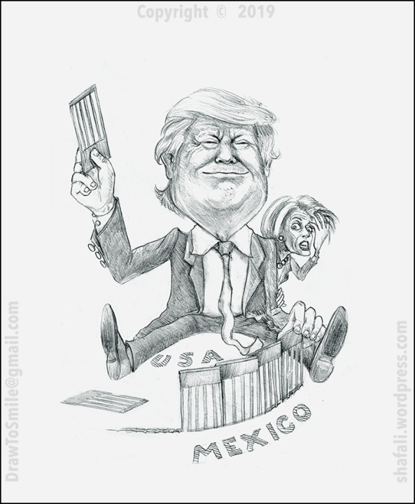 Caricature Cartoon of Donald Trump with the Wall - Nancy Pelosi confused watches the wall being made.