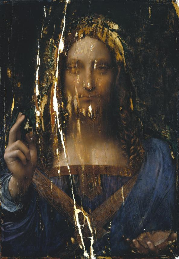 Salvator Mundi - cleaned and broken - but original before restoration. Leonardo da Vinci.