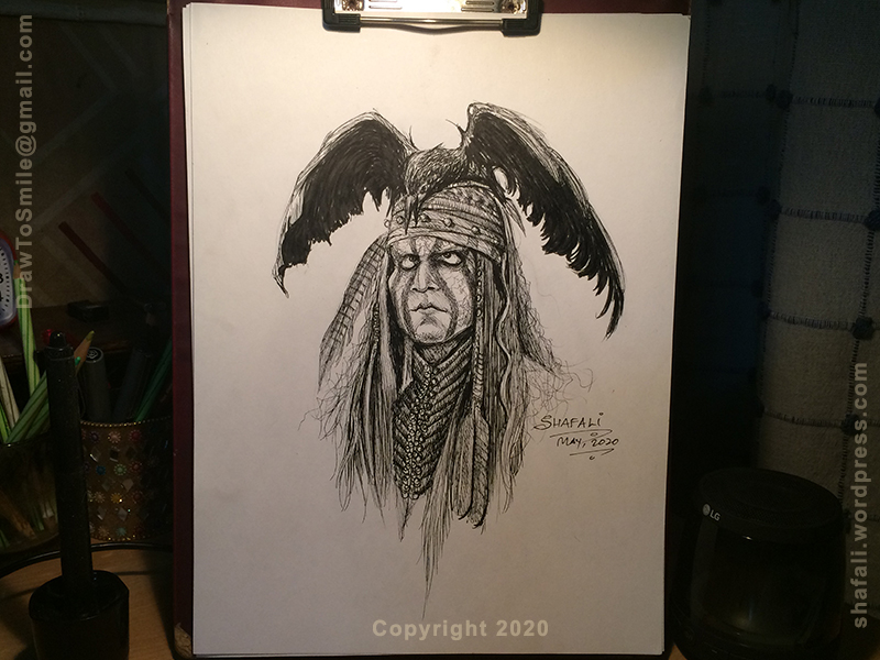Tonto of the Lone Ranger - Caricature in Pen and Ink of Johnny Depp's character.