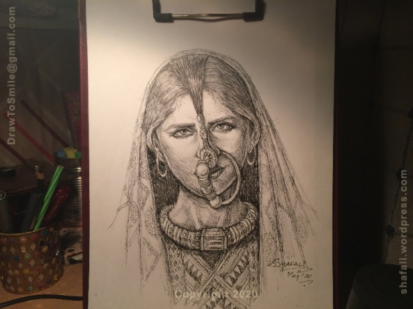 Dhaneta Jat Woman wearing traditional dress and nose ring - a pen and ink tribal portrait.