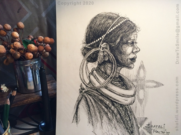 A Young Gadaba Tribal Woman with Silver Neckrings - A Pen and Ink Portrait