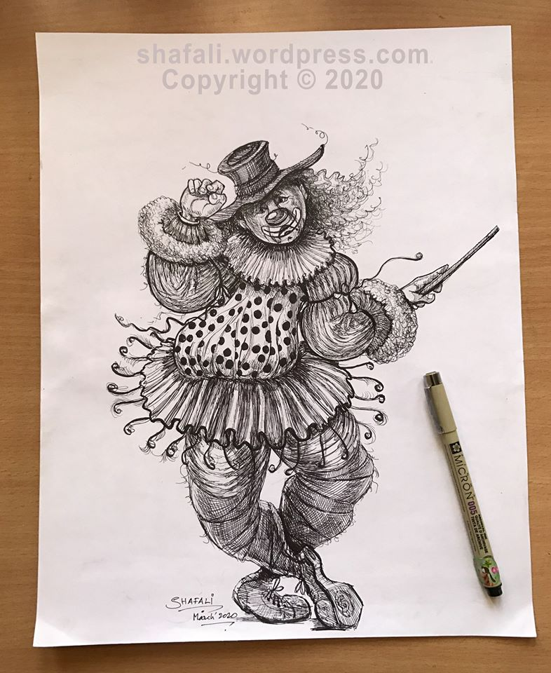 The Joker or the Clown - Pen and Ink Drawing - of a broken clown